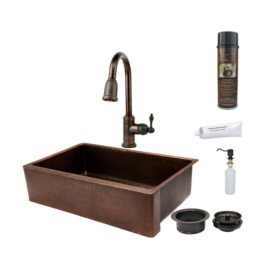 Premier Copper Products 22-in x 35-in Oil-Rubbed Bronze Single-Basin Copper Apron Front/Farmhouse Kitchen Sink