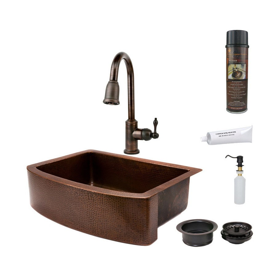 Premier Copper Products 24-in x 33-in Oil-Rubbed Bronze Single-Basin Copper Apron Front/Farmhouse Kitchen Sink