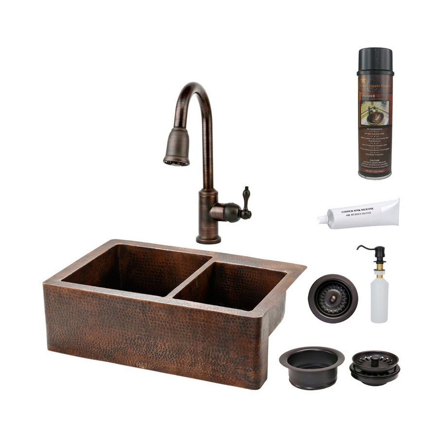 Premier Copper Products 22-in x 33-in Oil-Rubbed Bronze Double-Basin Copper Apron Front/Farmhouse Kitchen Sink