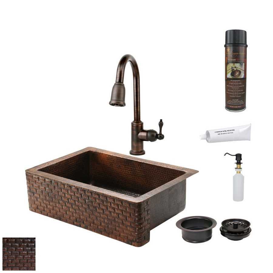 Premier Copper Products 22-in x 33-in Oil-Rubbed Bronze Single-Basin Copper Apron Front/Farmhouse Kitchen Sink