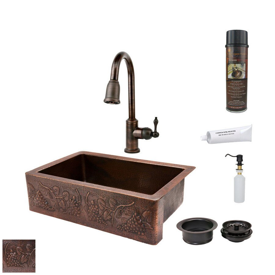 Premier Copper Products 22-in x 33-in Oil-Rubbed Bronze Single-Basin Copper Apron Front/Farmhouse Kitchen Sink