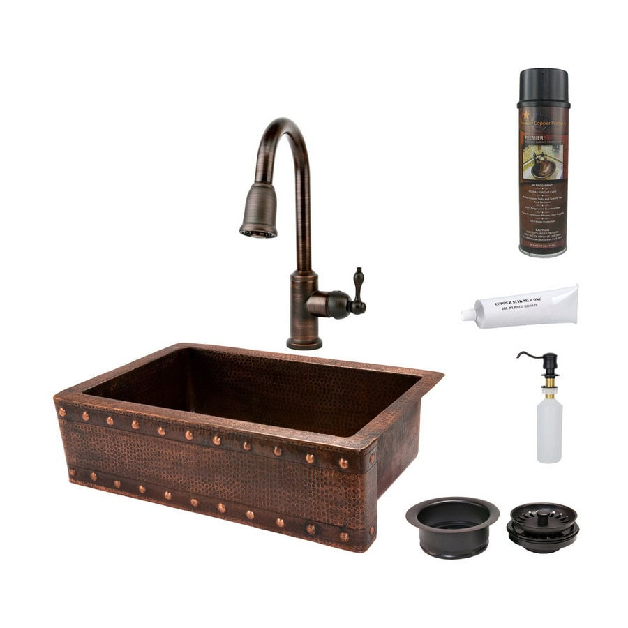 Premier Copper Products 22-in x 33-in Oil-Rubbed Bronze Single-Basin-Basin Copper Apron Front/Farmhouse-Hole Kitchen Sink