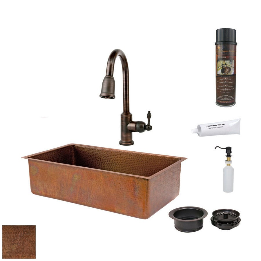 Premier Copper Products 19-in x 33-in Antique Copper Single-Basin-Basin Copper Undermount-Hole Kitchen Sink