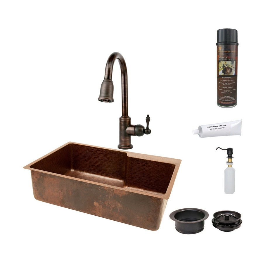Premier Copper Products 22-in x 33-in Oil-Rubbed Bronze Single-Basin Copper Undermount Kitchen Sink