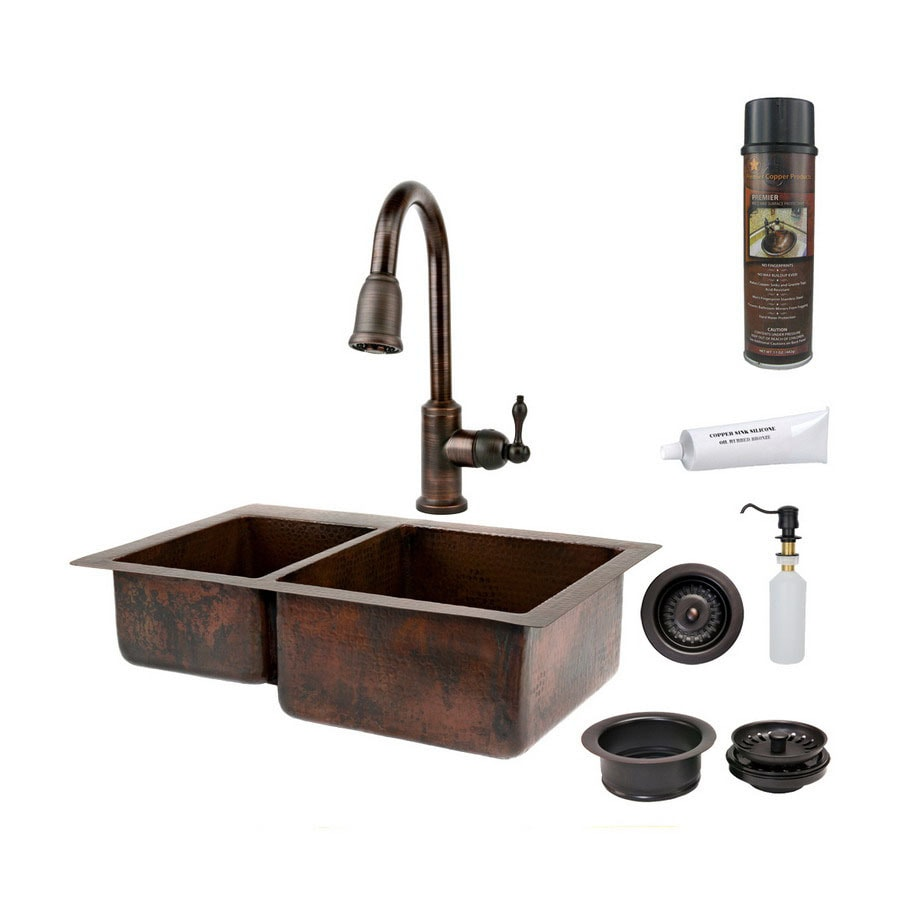 Premier Copper Products 22-in x 33-in Oil-Rubbed Bronze Double-Basin Copper Undermount Kitchen Sink