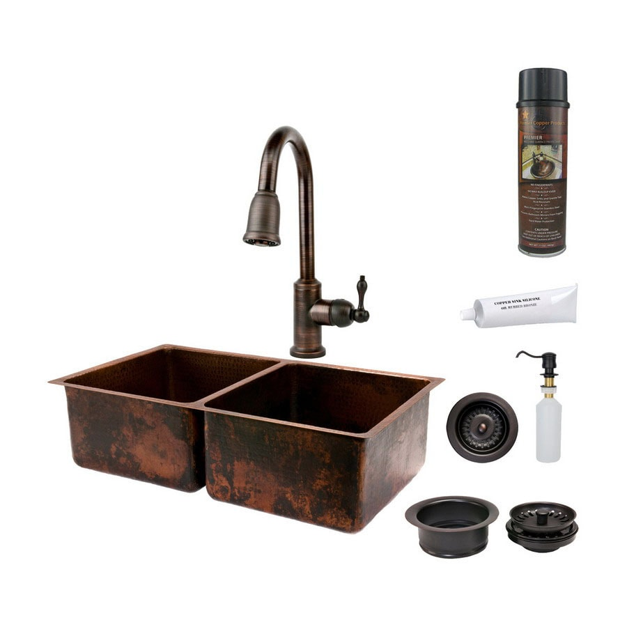 bronze sink kitchen shop premier copper products 33 in x 19 in rubbed 1821