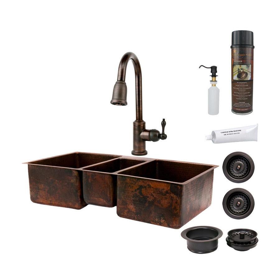 Premier Copper Products 22-in x 42-in Oil-Rubbed Bronze Single-Basin-Basin Copper Undermount-Hole Kitchen Sink