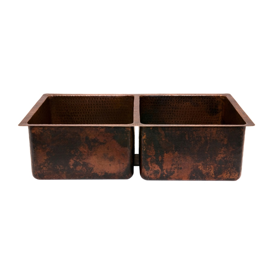 Premier Copper Products 19-in x 33-in Oil-Rubbed Bronze Double-Basin Copper Drop-In or Undermount Residential Kitchen Sink
