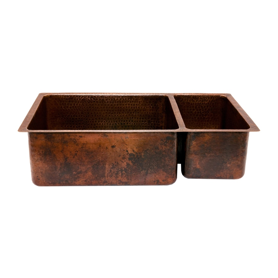 Shop premier copper products 19 in x 33 in oil rubbed - Copper drop in kitchen sink ...