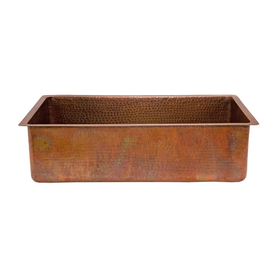 Shop premier copper products 19 in x 33 in antique copper - Copper drop in kitchen sink ...