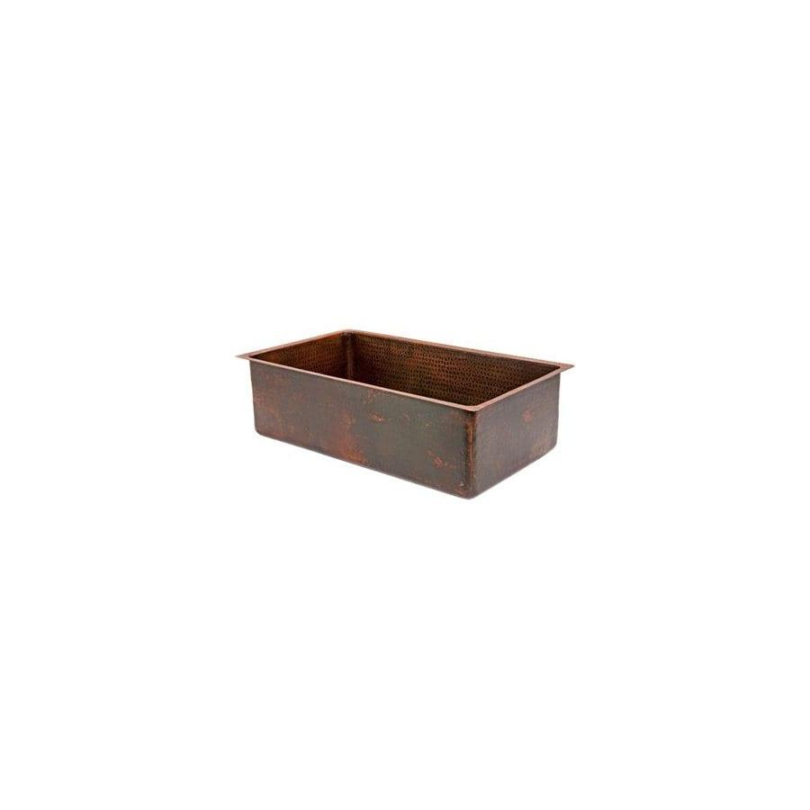 Premier Copper Products 19-in x 30-in Oil-Rubbed Bronze Single-Basin-Basin Copper Undermount-Hole Kitchen Sink