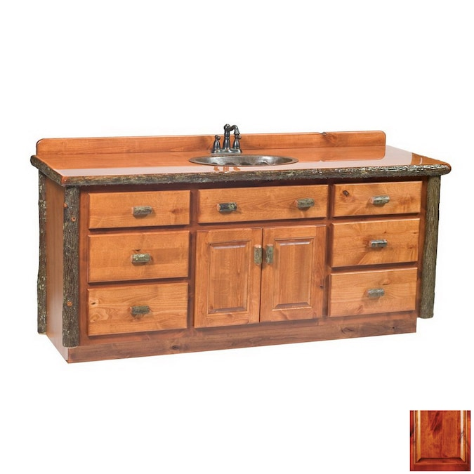 Fireside Lodge Furniture 60 In Rustic Alder Hickory Bathroom Vanity With Top In The Bathroom Vanities With Tops Department At Lowes Com