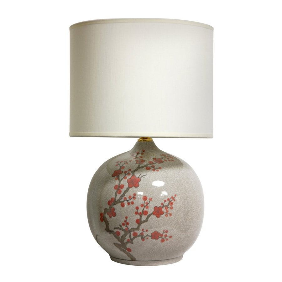 Oriental Furniture Cherry Blossom 20-in Off-white 3-way Table Lamp with Fabric Shade