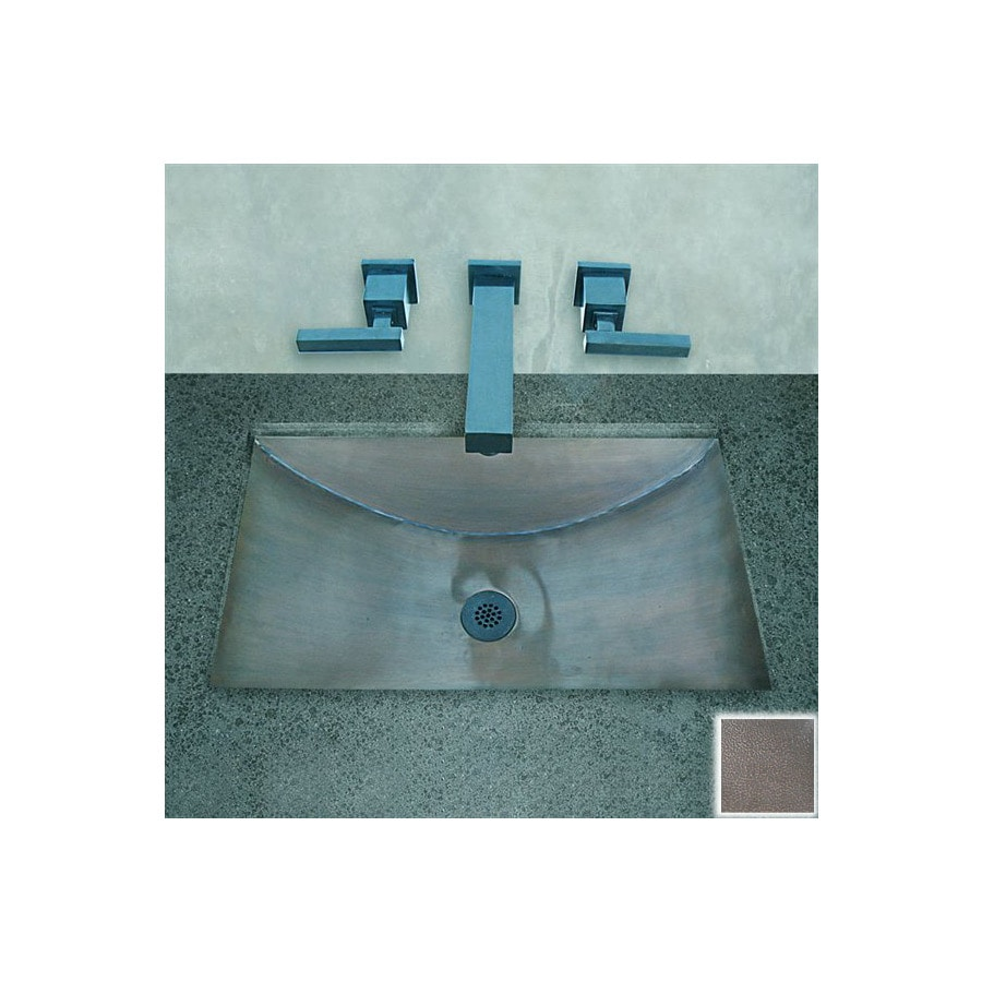 Terra-Acqua Santa Ynez Copper Oil-Rubbed Hammered Copper Copper Undermount Rectangular Bathroom Sink