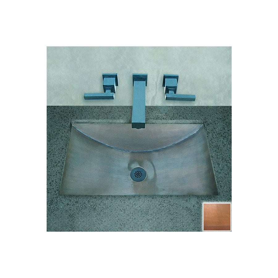 Terra-Acqua Santa Ynez Copper Smooth-Weathered Copper Undermount Rectangular Bathroom Sink