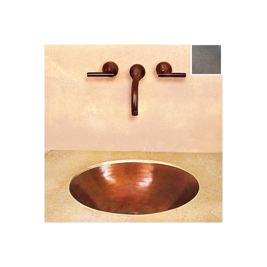 Terra-Acqua Santa Ynez Copper Oil-Rubbed Hammered Copper Copper Undermount Oval Bathroom Sink