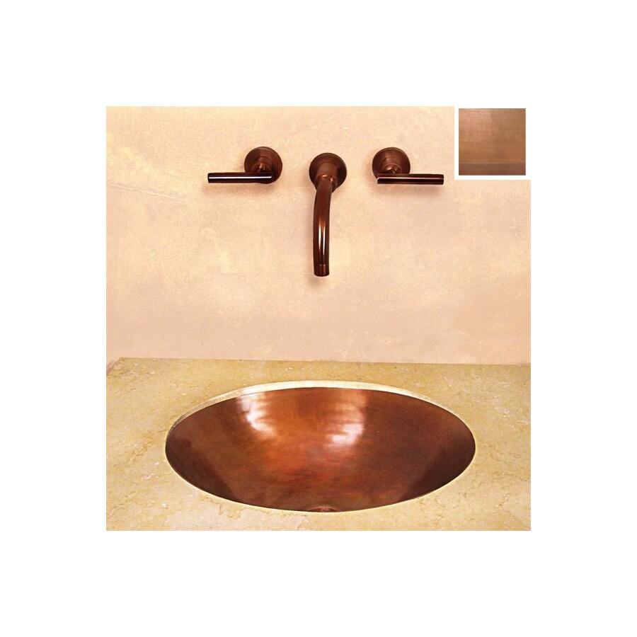 Terra-Acqua Santa Ynez Copper Smooth-Weathered Copper Copper Undermount Oval Bathroom Sink