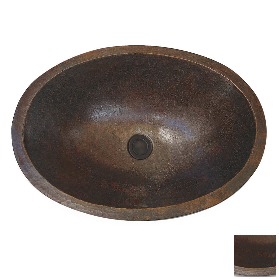 Cole & Company Custom Antique Copper Copper Undermount Oval Bathroom Sink with Overflow Drain Included