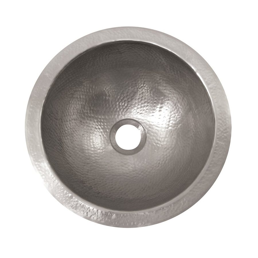 The Copper Factory Artisan Satin Nickel Copper Drop-In Round Bathroom Sink with Overflow