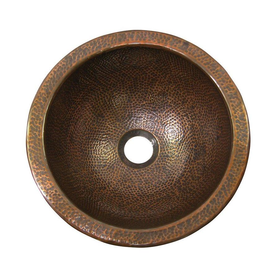 The Copper Factory Artisan Antique Copper Undermount Round Bathroom Sink with Overflow