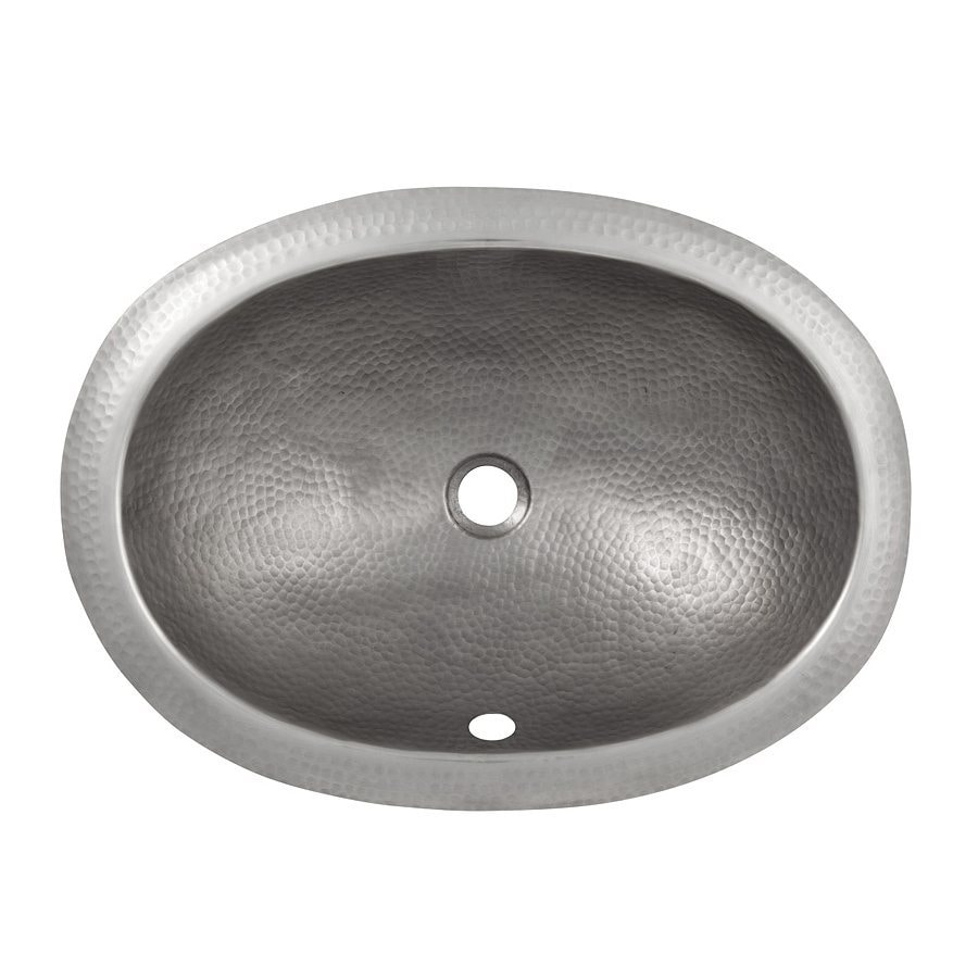 The Copper Factory Artisan Satin Nickel Copper Undermount Oval Bathroom Sink with Overflow