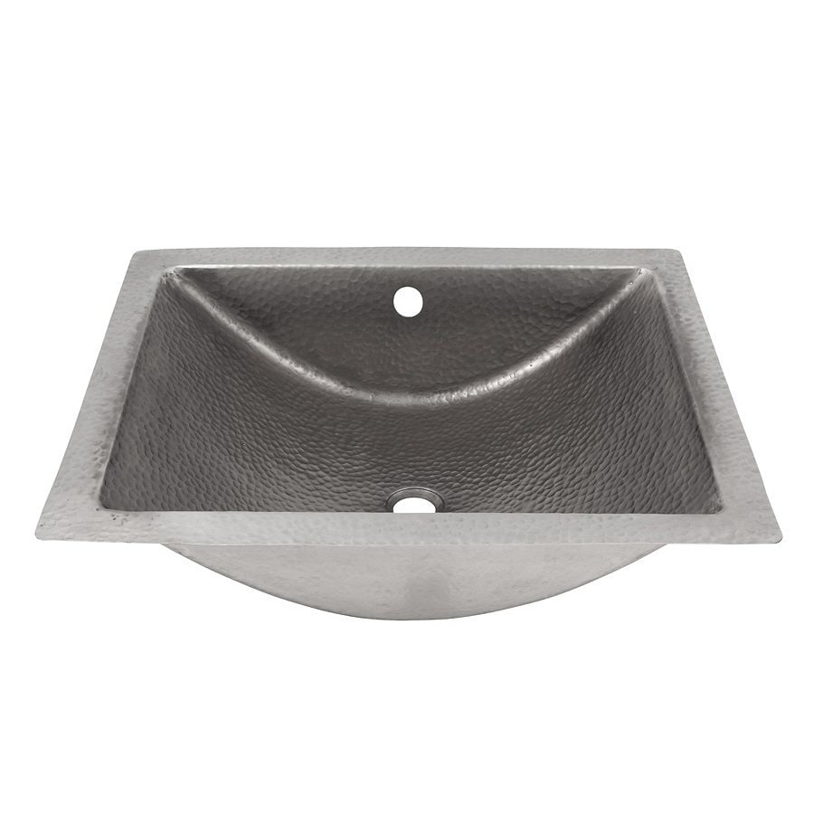 the copper factory artisan satin nickel copper undermount rectangular bathroom sink with overflow