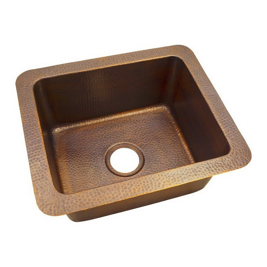 The Copper Factory Artisan 18-in x 21-in Antique Copper Single-Basin Copper Undermount Kitchen Sink
