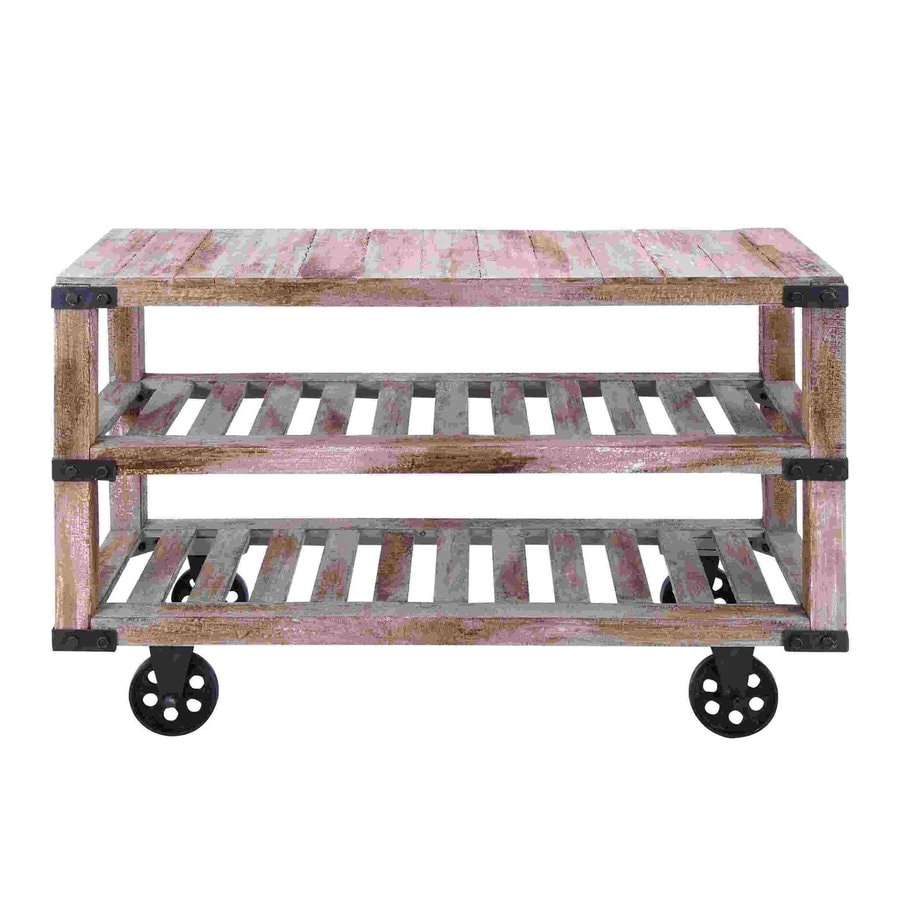 Woodland Imports Rustic Rectangular Kitchen Cart