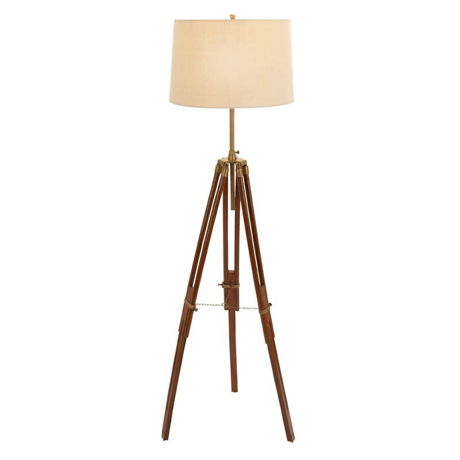 Woodland Imports 66-in 3-Way Brown Indoor Floor Lamp with Fabric Shade