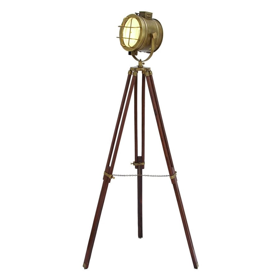 Woodland Imports 70-in Royal Brown 3-Way Tripod Floor Lamp with Metal Shade