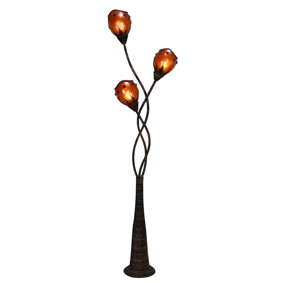 Woodland Imports Abaca 70-in Multi-head Floor Lamp with Plastic Shade