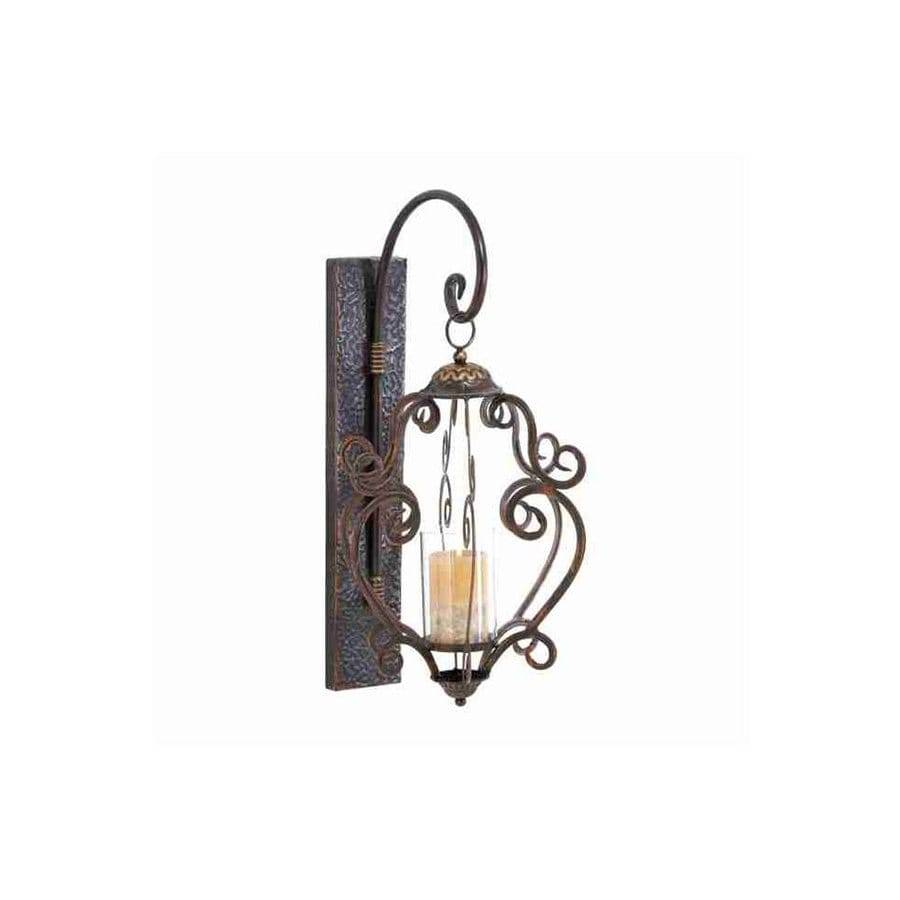 Woodland Imports 1 Candle Brown Metal Sconce Candle Holder