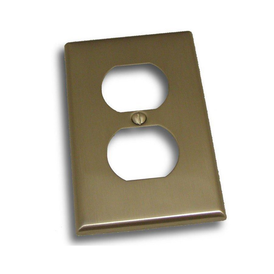 Residential Essentials 1-Gang Satin Nickel Single Duplex Wall Plate