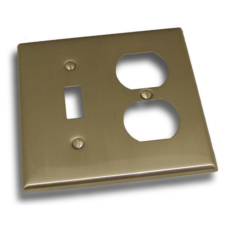 Residential Essentials 2-Gang Satin Nickel Double Toggle/Duplex Wall Plate