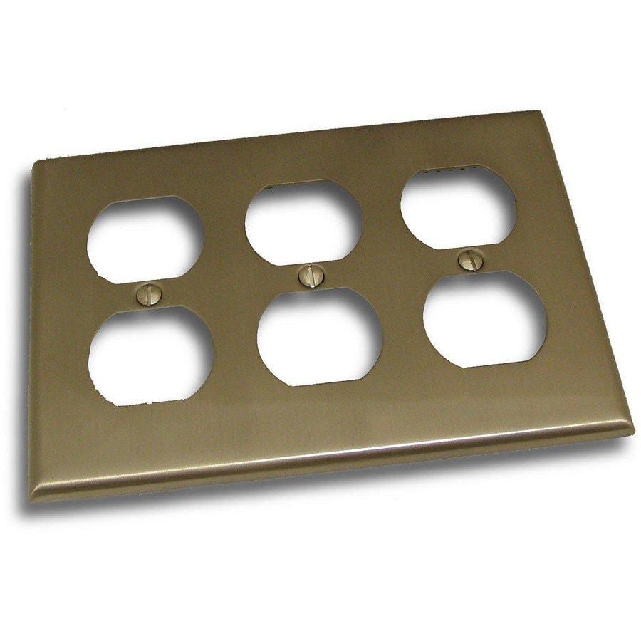 Residential Essentials 3-Gang Satin Nickel Triple Duplex Wall Plate