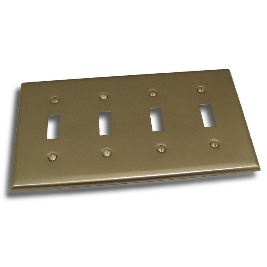 Residential Essentials 4-Gang Satin Nickel Quad Toggle Wall Plate