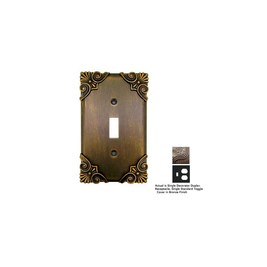 Anne at Home Corinthia 2-Gang Bronze Combination Pewter Wall Plate