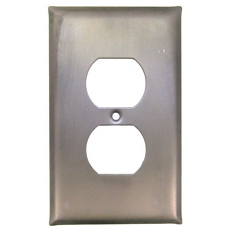 Anne at Home 1-Gang Pewter Matte Decorator Duplex Receptacle Pewter Wall Plate