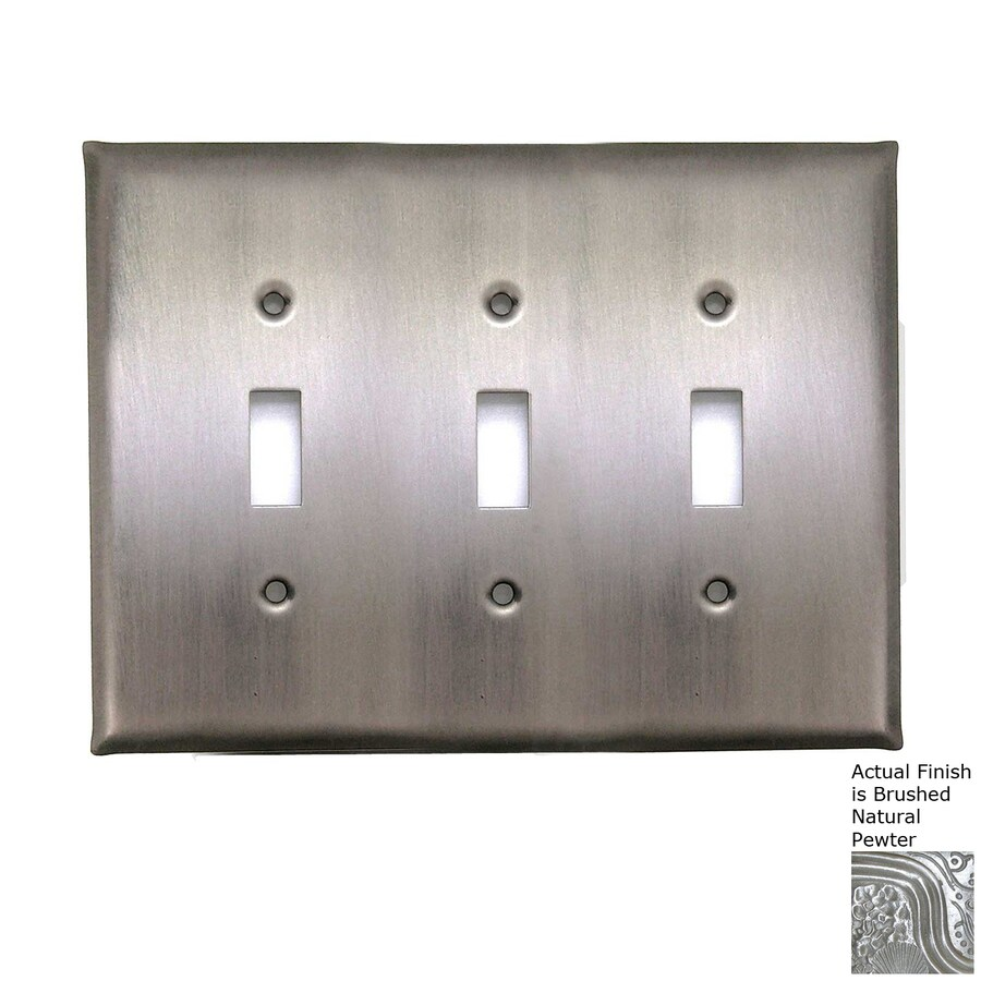 Anne at Home 3-Gang Brushed Natural Pewter Triple Toggle Wall Plate