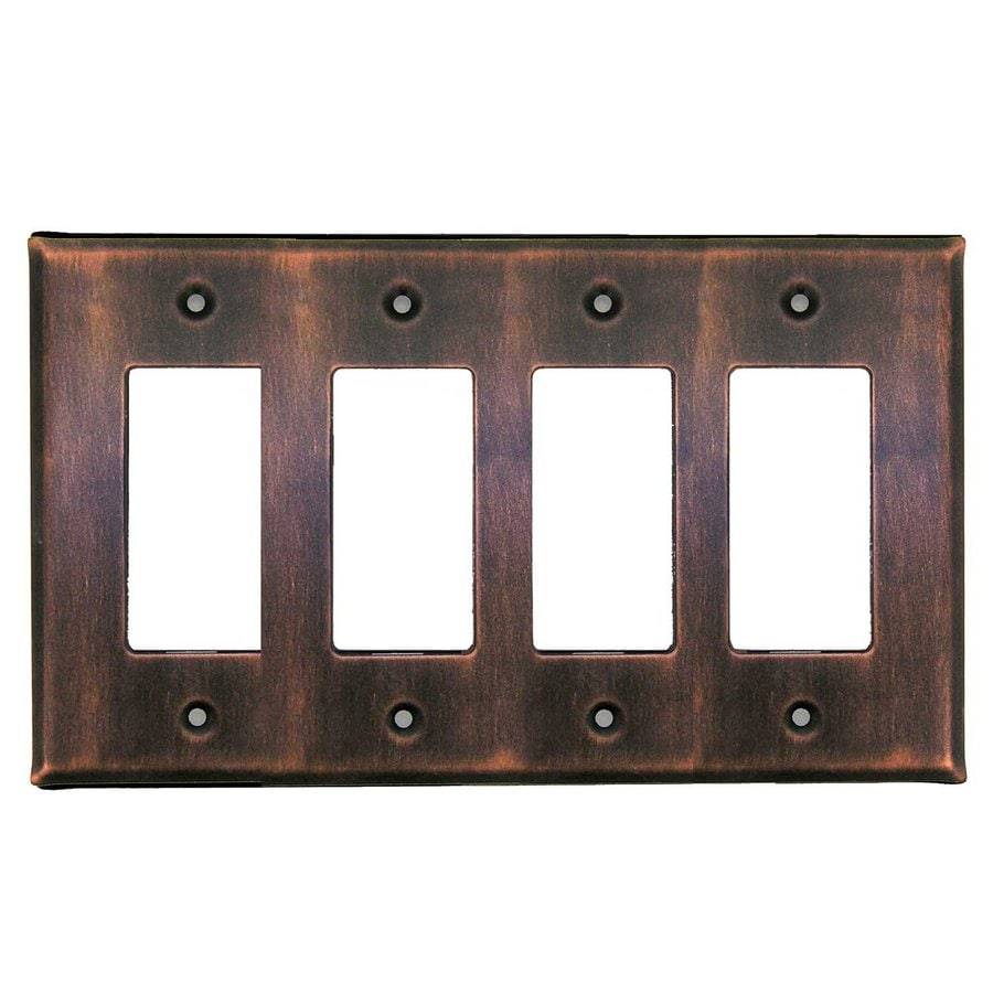 Anne at Home 4-Gang Antique Copper Quad Decorator Wall Plate
