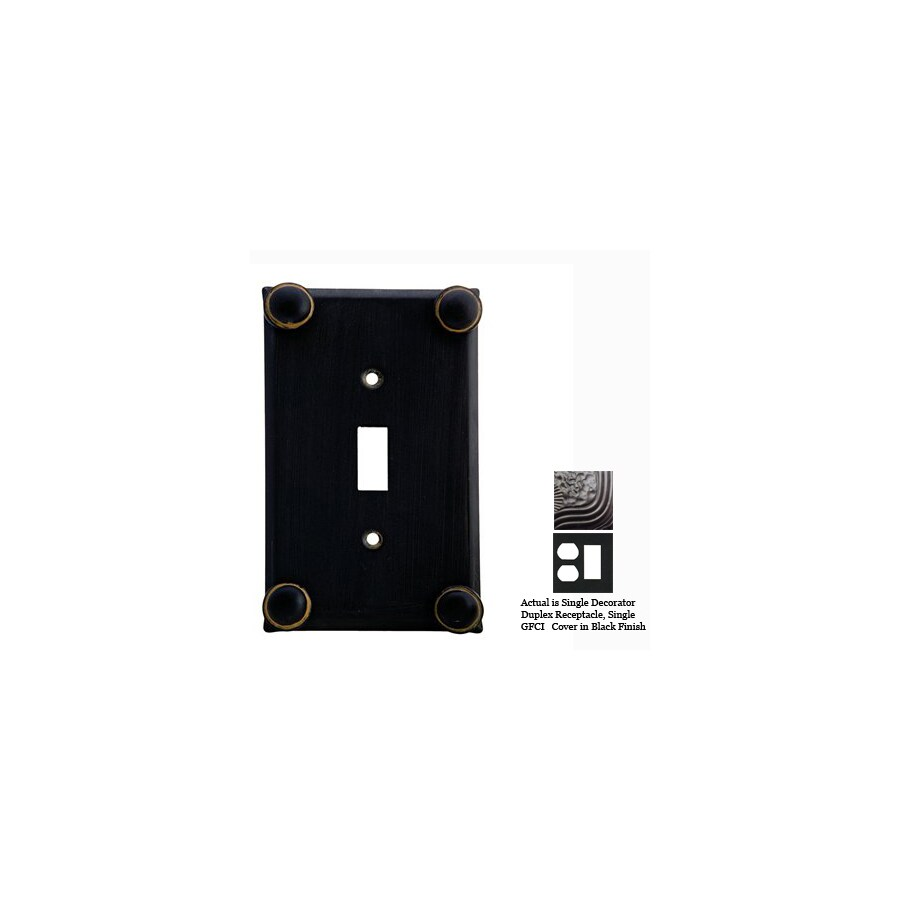Anne at Home Button 2-Gang Black Combination Pewter Wall Plate