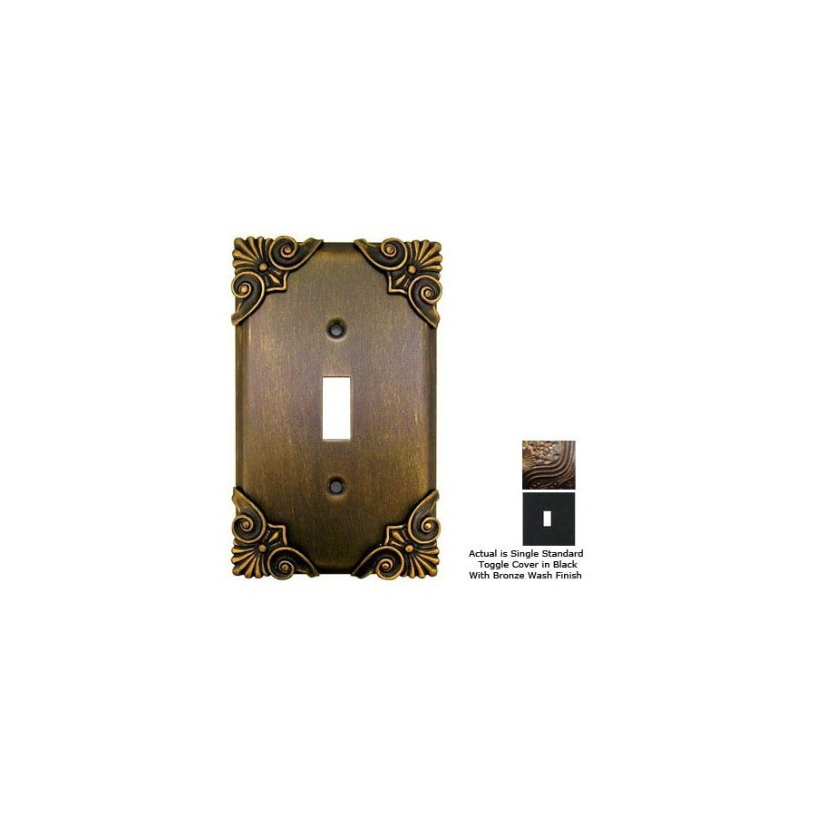 Anne at Home Corinthia 1-Gang Black with Bronze Wash Standard Toggle Pewter Wall Plate