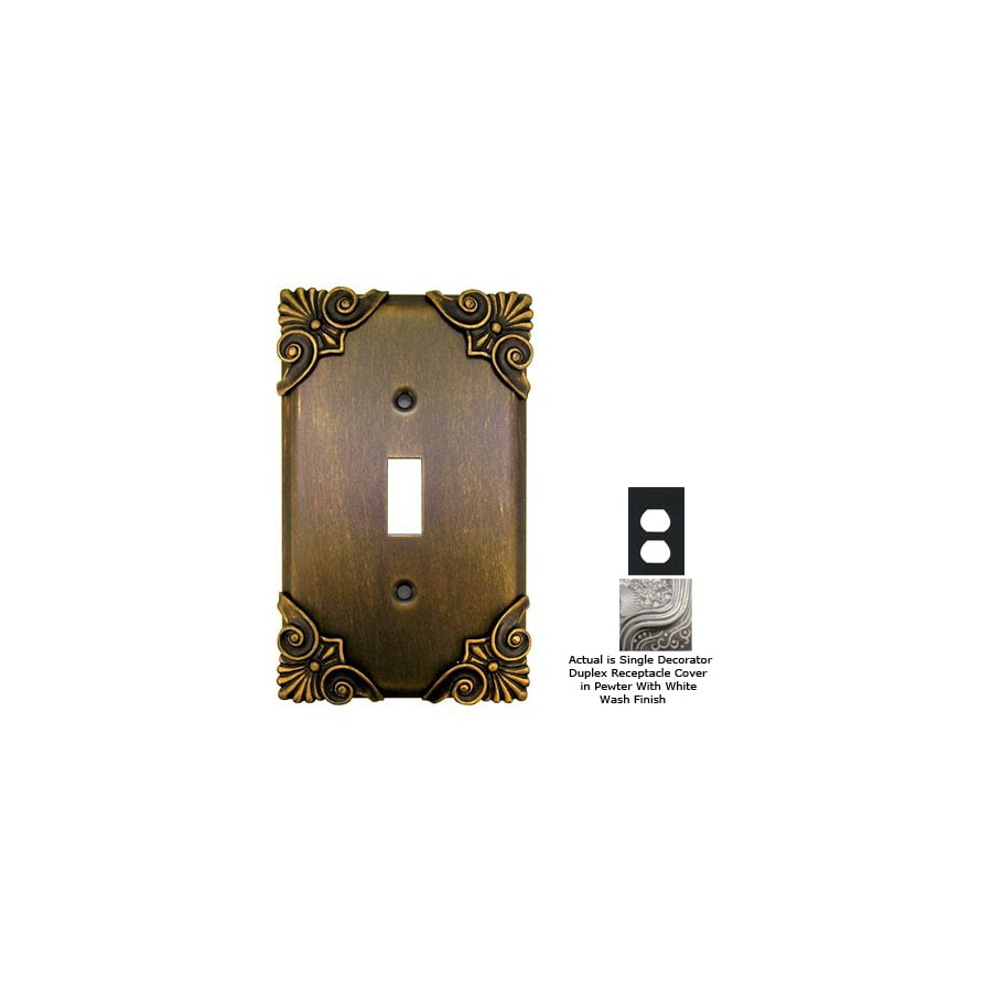 Anne at Home Corinthia 1-Gang Pewter with White Wash Decorator Duplex Receptacle Pewter Wall Plate