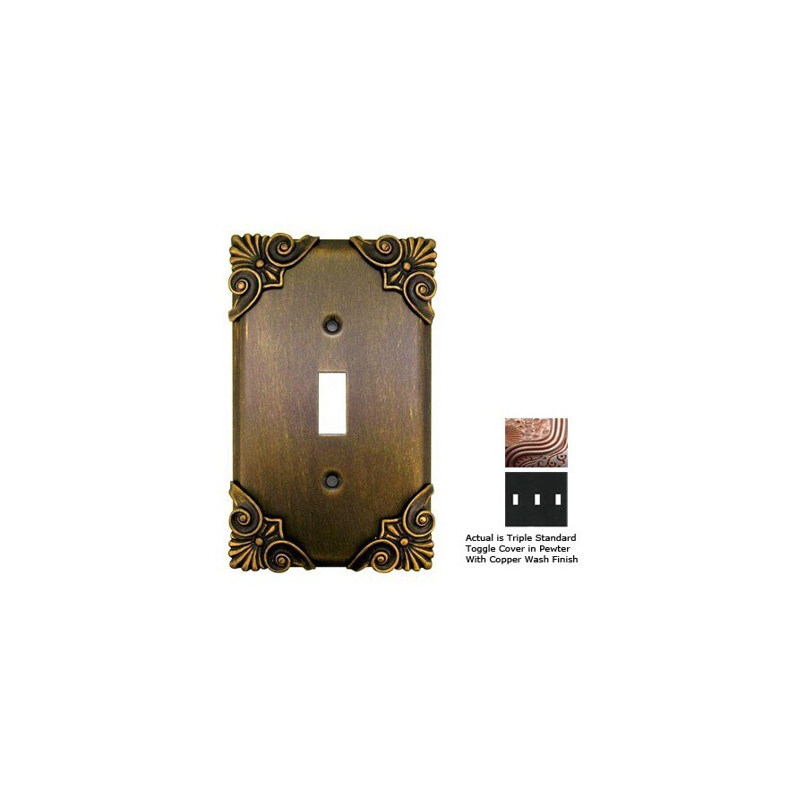 Anne at Home Corinthia 3-Gang Pewter with Copper Wash Standard Toggle Pewter Wall Plate