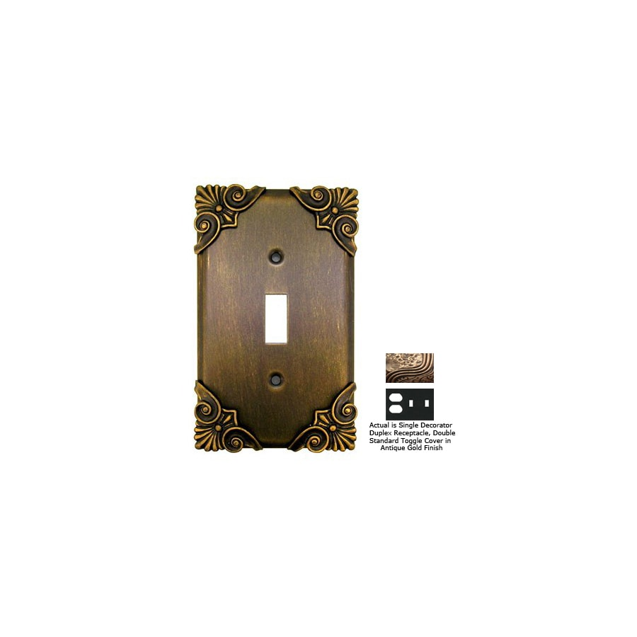 Anne at Home Corinthia 3-Gang Antique Gold Combination Pewter Wall Plate