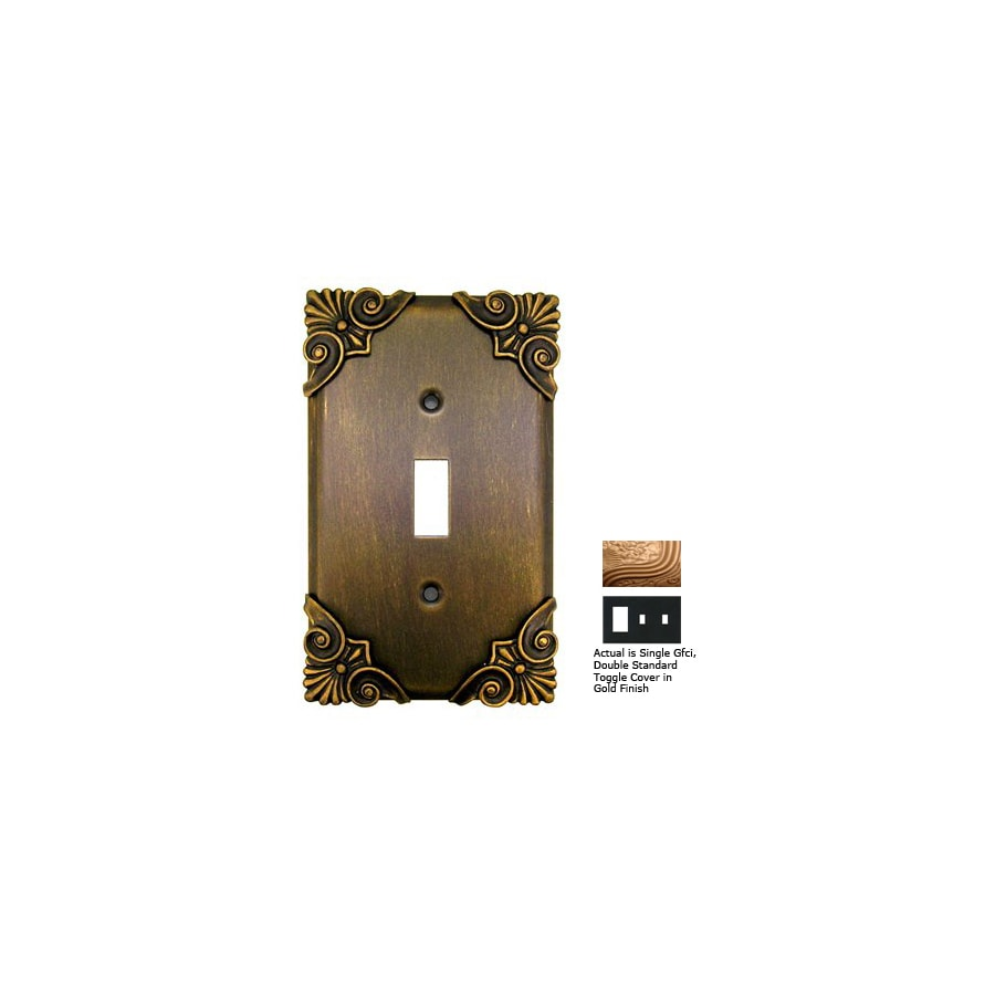 Anne at Home Corinthia 3-Gang Gold Combination Pewter Wall Plate