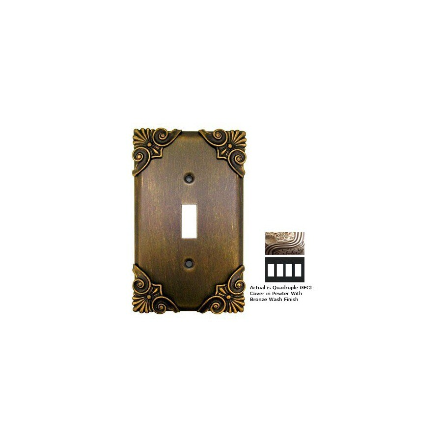Anne at Home Corinthia 4-Gang Pewter with Bronze Wash GFCI Pewter Wall Plate