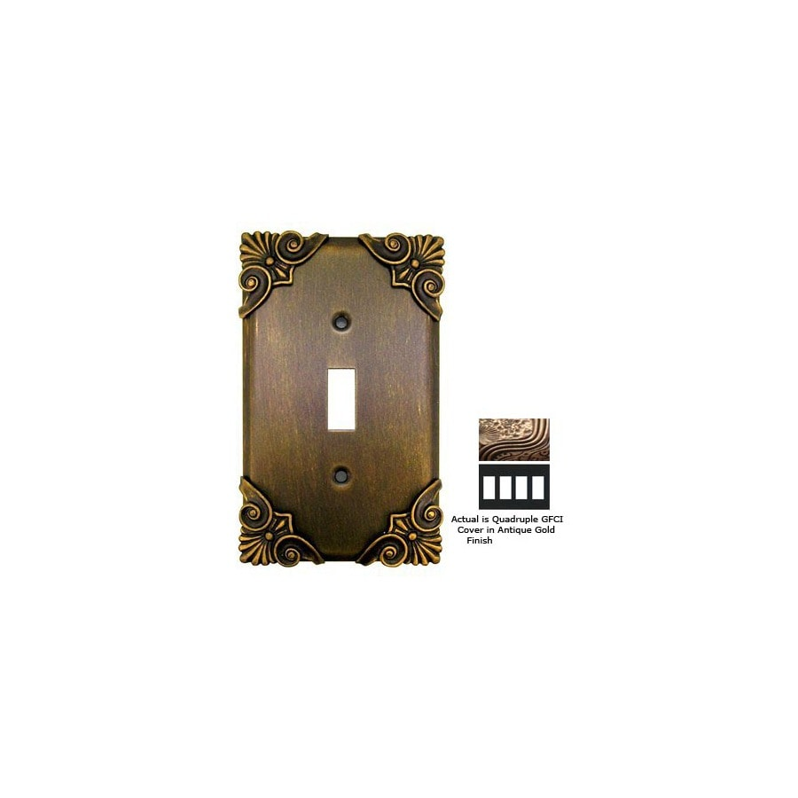 Anne at Home Corinthia 4-Gang Antique Gold GFCI Pewter Wall Plate