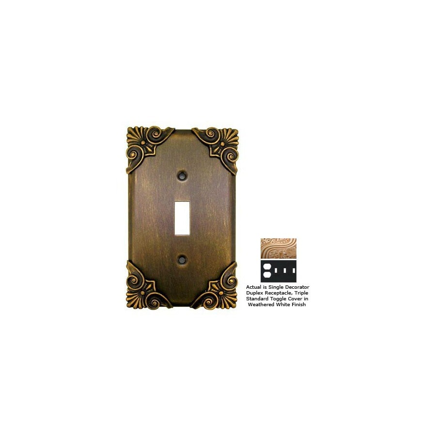 Anne at Home Corinthia 4-Gang Weathered White Combination Pewter Wall Plate