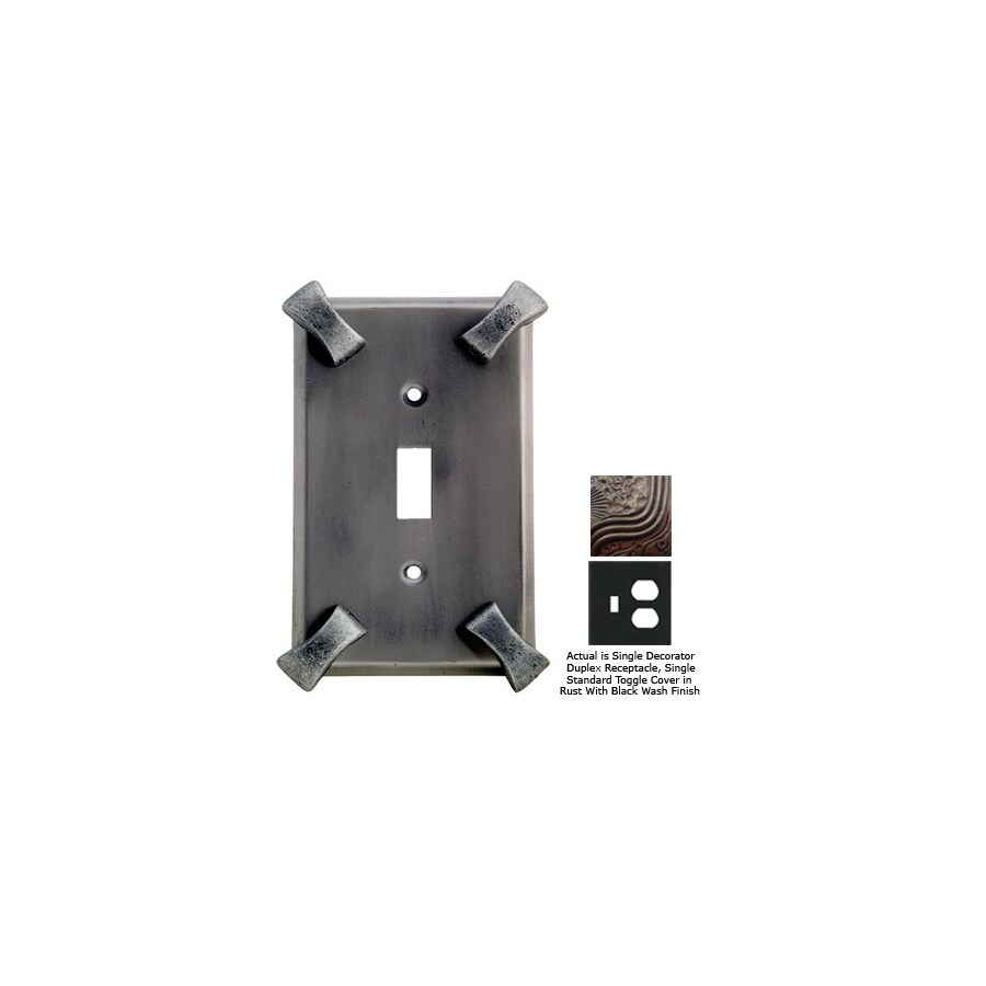 Anne at Home Hammerhein 2-Gang Rust with Black Wash Combination Pewter Wall Plate
